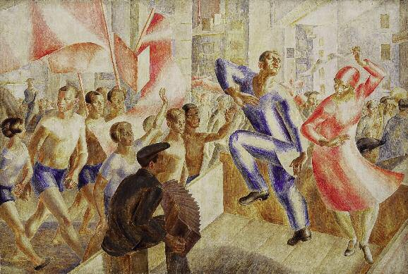 1 May Holiday. 1920s. Oil on canvas. 252 x 378. Scientific and Research Museum, Russian Academy of Arts