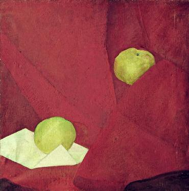Apples on Red. 1923–1924. Oil on canvas. 53 x 53. Russian Museum