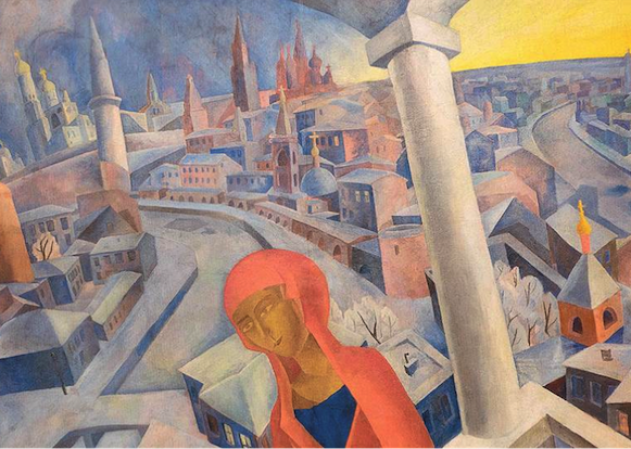 The Mother of God Against the Background of Moscow. 1920. Oil on canvas. 191.6 x 267.6. Moscow Museum of Modern Art