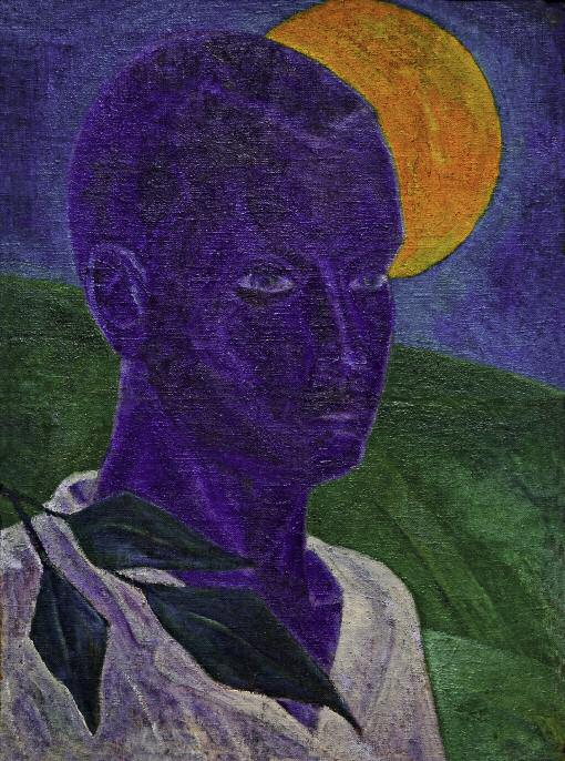 Self-Portrait with the Moon. 1931. Oil on canvas. 63 x 47. Nizhny Tagil Museum of Fine Arts