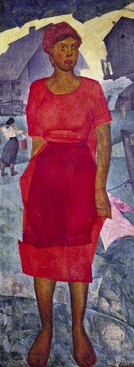Woman in Red. 1925. Oil on canvas. 141 x 54. Russian Museum