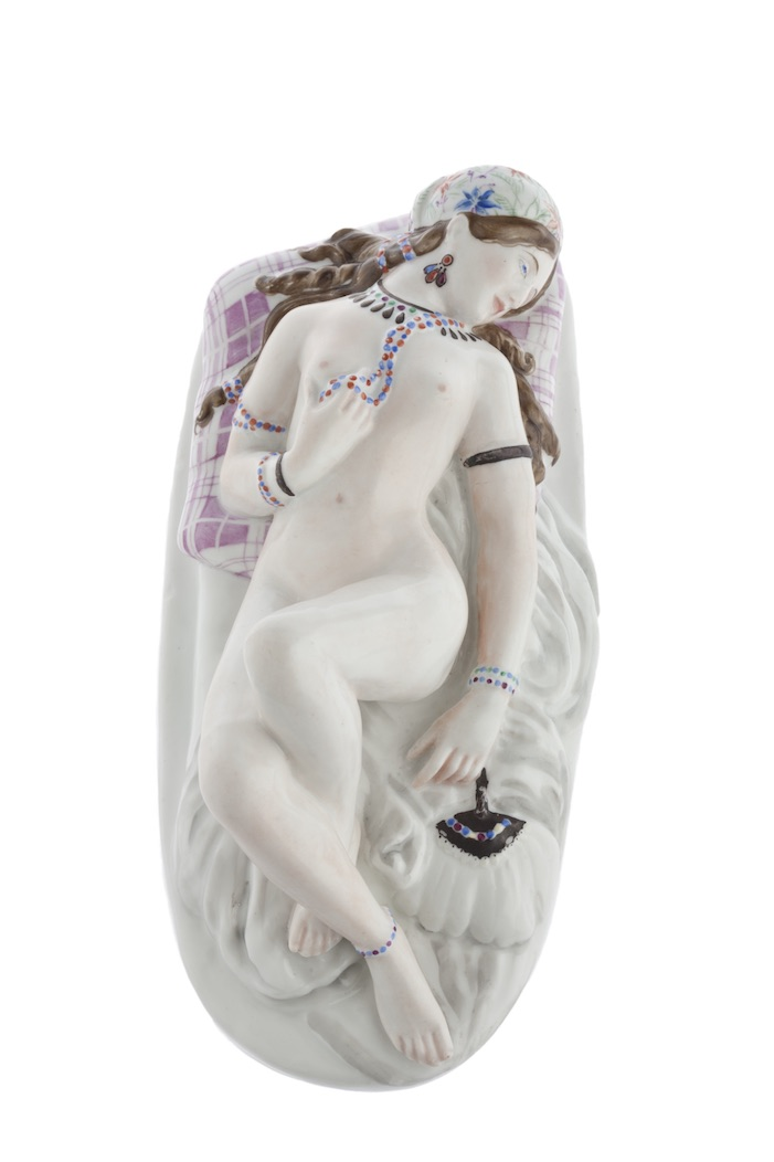 Sculpture Odalisque. Leningrad, Lomonosov State Porcelain Factory. 1850s. Overglaze paintwork on porcelain. Height: 93 cm. Marks: In the clay—sickle, hammer, and part of a gear. Initials of the modeler and a red export stamp.