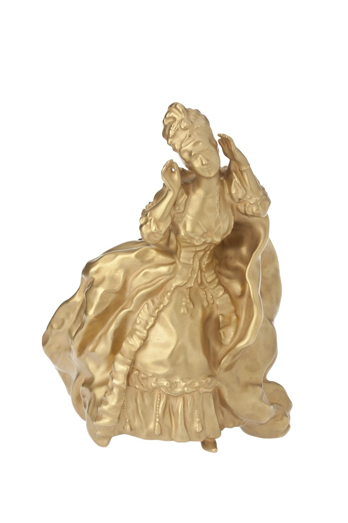 Sculpture Lady Removing Her Mask. 1906 model produced in the 1920-1930s. Paintwork artist is Maksim Shmakov, artist unknown. Porcelain. Gilding. Height: 21.6 cm. No marks. Lomonosov State Porcelain Factory.