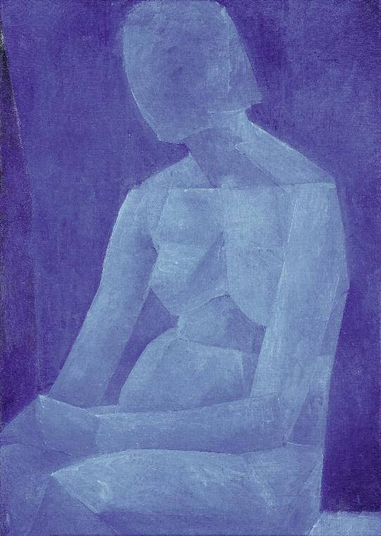 Blue Study of a Nude. 1921. Oil on canvas. 85 x 54. Private collection, St Petersburg