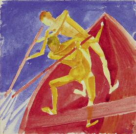 Pair in a Boat. 1919. Watercolour and graphite pencil on paper. 16.1 x 15.8. Russian Museum