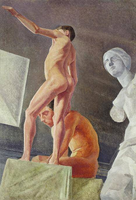 Two Artist's Models. 1923–1927. Drawn from life at Petrov-Vodkin's studio Oil on canvas. 137 х 94. Private collection, St Petersburg