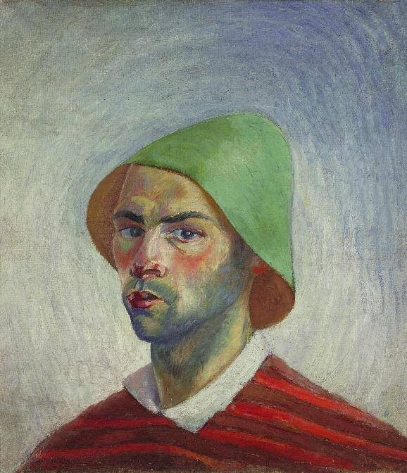 Self-Portrait in Green Hat. 1928. Oil on canvas. 50 x 45. Private collection. St Petersburg