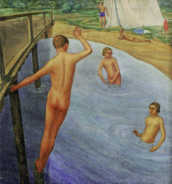 Pioneer Camp. Bathing. 1927. Oil on canvas. 104 x 96. Scientific and Research Museum. Russian Academy of Arts