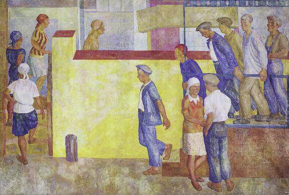 Going to Work. Panel. 1929. Size paint on canvas. 253 x 376. Russian Museum