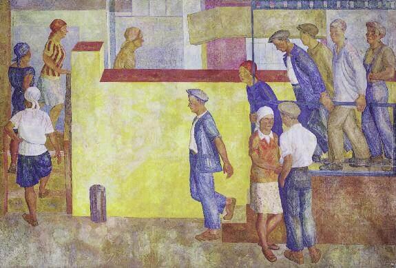 Идут на работу. Панно. 1929. Холст, клеевая краска. 253 x 376. ГРМ
