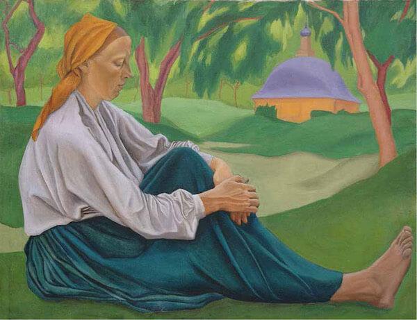 Крестьянка, сидящая на траве. 1916. ГМИИ РТ